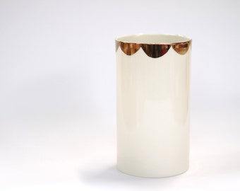 porcelain vase : milk colour with copper scalloping