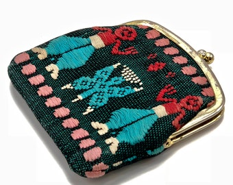 Vintage Boho Coin Purse - Ethnic Embroidered Multi Colored Wallet Coin Purse