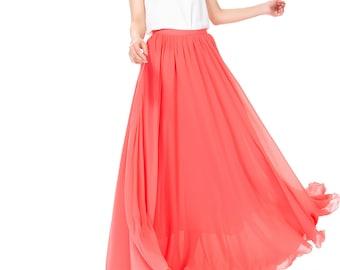 High Waisted Maxi Skirt / Floor Length Long Skirt /Chiffon Maxi Skirt For Women Wedding Party Evening Photograph (108), #77