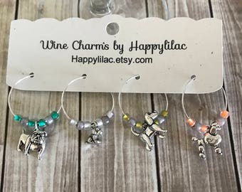 4 Wine Charms, Dog Wine Charms, Dog Lover, Wine Glass Charm, Beer Charm, Animal Lover, Puppy, Dog Rescue, Bulldog, Poodle, Beagle, Hound Dog