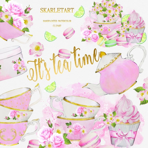 Watercolor tea party clipart teacup teapot bridal shower invitation watercolor tea party clipart teacup teapot bridal shower invitation tea invitation diy watercolor handpainted macaron cookies flowers from skarletart on filmwisefo Gallery
