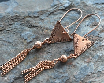 Geometric Earrings- Copper Chain Tassel Earrings- Stamped Copper Boho Jewelry- Summer Long Dangle Earrings- One of a Kind