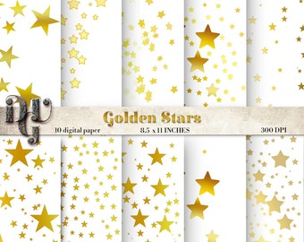 GOLDEN STARS digital paper pack Christmas gold star digital paper scrapbooking shine confetti golden glitter Digital Scrapbooking Paper #096