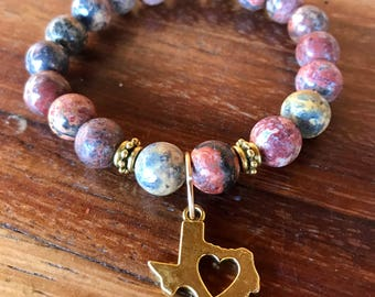 Texas love - jasper a gemstone yoga bracelet with gold Texas heart charm in gold with tibetan gold spacers