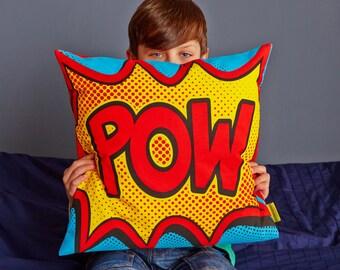 Pop Art Cushion - Comic book gift - cushion - Pow sound - pillow - comic book cushion - Boys bedroom gift - superhero cushion - retro