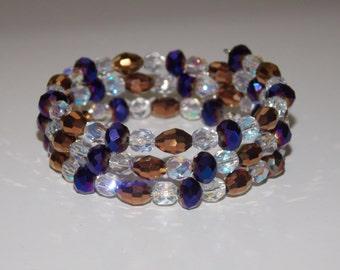 Purple Glass and Copper Czech Wrap Bracelet