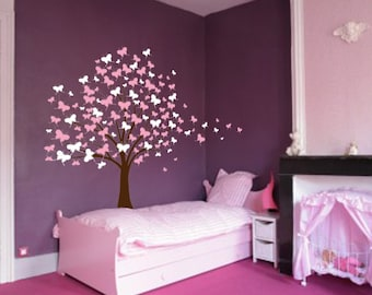Large Wall Tree Baby Nursery Decal Butterfly Cherry Blossom 1139 (6 foot tall)