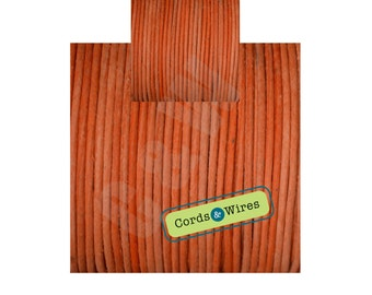 CW02301 Carrot -2 meters x 2mm Dyed Coulour Round Leather Cord