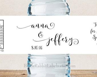 "Personalized Water Bottle Labels - 100% Waterproof - Script Font - Wedding Favors 2""x8.5"" self-stick labels - Choose Color"