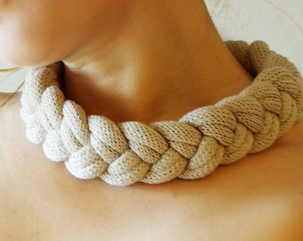 Knitted Necklace Knitted Jewelry Knitted Accessory Chunky Necklace Cream Yarn Jewelry