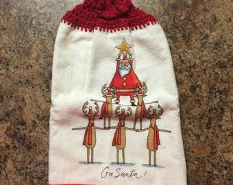 Santa and Reindeer Crocheted Hanging Kitchen Towel