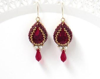 Red Swarovski crystal teardrop earrings, Victorian style earrings, Gift for wife, Beaded earring for women