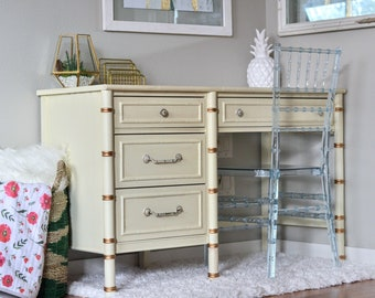 SPRING SALE! 25% OFF! Vintage Hollywood Regency Faux Bamboo Thomasville White/Gold Writing Desk with Faux Bamboo Ghost Chair