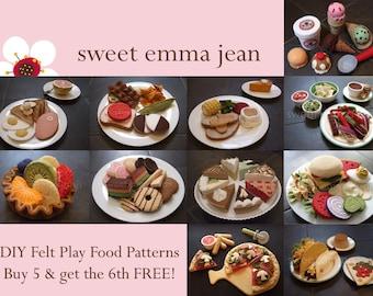 Felt Play Food Pattern PDFs - Buy Five Get Sixth FREE - DIY Felt Food Patterns