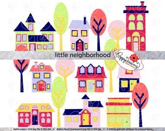 Little Neighborhood Clipart Set: (300 dpi transparent png) Digital Home House Neighborhood Village Tree