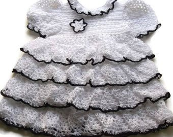 Crochet Baby Dress - Infant - white-black dress - preemie - Newborn - Reborn Doll Clothes - White with a line of black-ruffle crochet dress