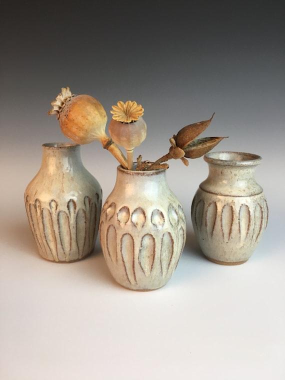 Hand carved pottery bud vase