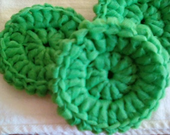 Set of 3 Emerald green crocheted scrubbies