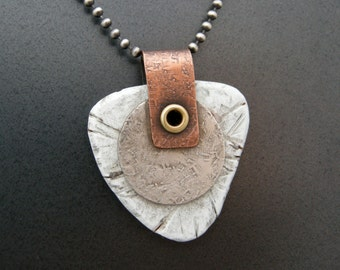 forged sterling silver with copper and faux bone necklace, handmade necklace, unisex jewelry