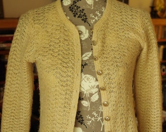 St. John Brand Tan Loose Weave Cardigan 11 SJ Gold Metal Buttons 3/4 Sleeves Size Small