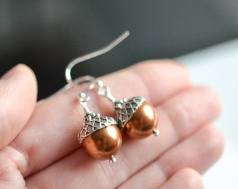 Acorn Earrings, Fall Earrings, Fall Bridesmaids Earrings, Autumn Earrings, Acorn Drop Earrings, Pearl Dangle Earrings, Woodland Earrings