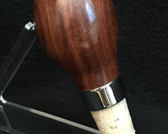 Chrome and cork bottle stopper made with Yacatan Rosewood