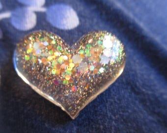 Small gold sprinkles Heart resin  needleminder  needlekeeper  magnet minder
