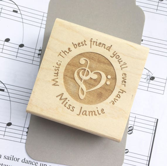 Music Teacher Stamp Personalized Teacher Name Teacher Gift Treble Bass Clef Heart