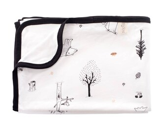 Newborn Blanket, Gender Neutral Woodland Forest Baby Blanket, Stroller Blanket, Nursing Cover, Receiving Blanket, Summer Blanket