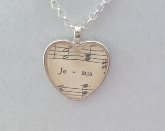 Jesus / sheet music - glass pendant necklace