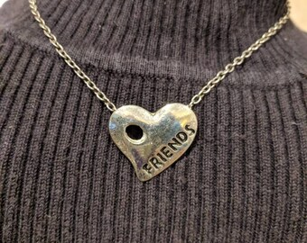 Silver Tone Friends Heart Necklace