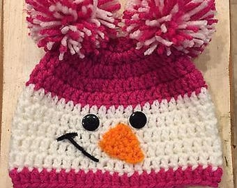 Baby Girls Pink Double Pom-Pom Snowman Hat