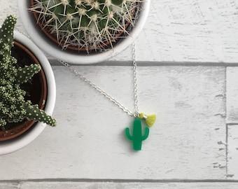 Cactus Necklace, Cactus jewellery, Acrylic laser cut necklace, laser cut necklace, Cactus pendant, Acrylic jewellery, plant jewellery