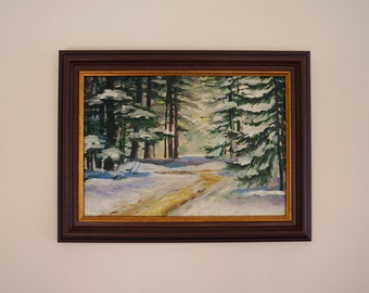 "Oil painting ""Winter landscape"", framed, ready to hang"
