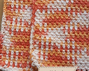 Crochet cotton wash cloths, dish cloths, baby wipes, facial wipes, scrubby, scrubbers set of 2