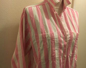 Cotton candy pink stripped 80s oxford by Essentials medium