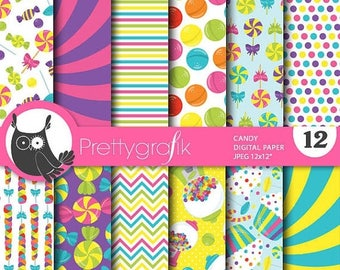 80% OFF SALE Candy digital paper, commercial use, scrapbook papers, background, candies - PS769