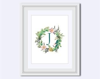 Monogram J - cactus wreath print - cactus decor - Monogram Wall Art - Monogram printable - Monogram sign - Instant download