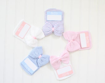 Hello my name is, baby sticker, baby bow hat, hospital hat, milestone sticker, hospital bag, newborn baby, baby shower, baby girl