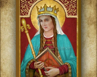 St. Margaret of Scotland Wood Plaque & Holy Card GIFT SET, Patron of Large Families #3132