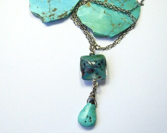 Sterling, turquoise and Lampwork Boro Glass Bead Necklace.