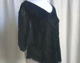 Vintage Black Fringe Blouse // 80s Fringe Outfit