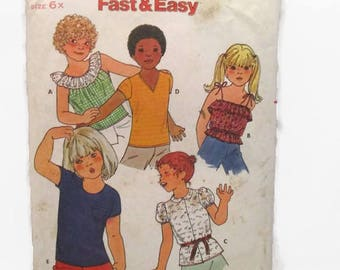 Butterick 6560 Quick Fast and Easy Children's Tops UNCUT