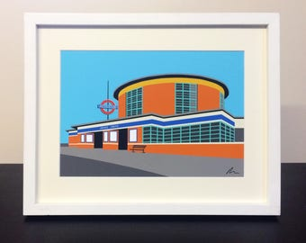 Arnos Grove Station - Mounted Print - London Underground illustration Travel Poster - Art Deco Tube Station Series - by Rebecca Pymar
