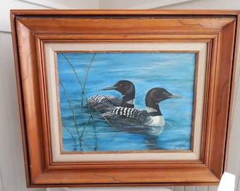 Original Oil Painting of a Pair of Loons - Northern Lake Loon Oil Painting - Signed and Dated by Artist Becky Woldt c.1987 - Loon Painting