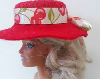 Very chic red felt hat for Barbie. OOAK hand made hat with decorative ribbon and bow trim. 12inch fashion doll hat. Barbie accessories.