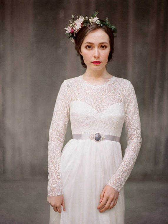 Long Sleeve Lace Wedding Dress Rufina Bohemian Bridal Gown Rustic Modest Corset Boho Milamira