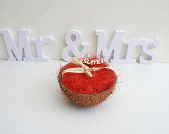 Ring bearer wedding exotic coconut and sisal - wedding accessories-tropical wedding