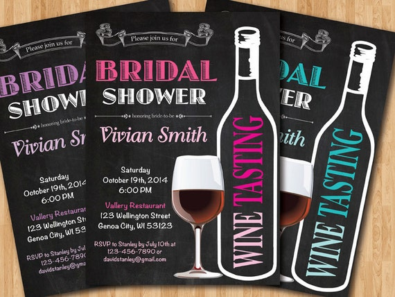 Wine tasting bridal shower invitation wedding shower pink like this item filmwisefo Image collections