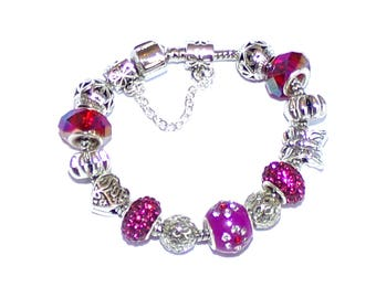 """Bracelet with charms, silver, red and fuchsia """"Pandora style"""""""